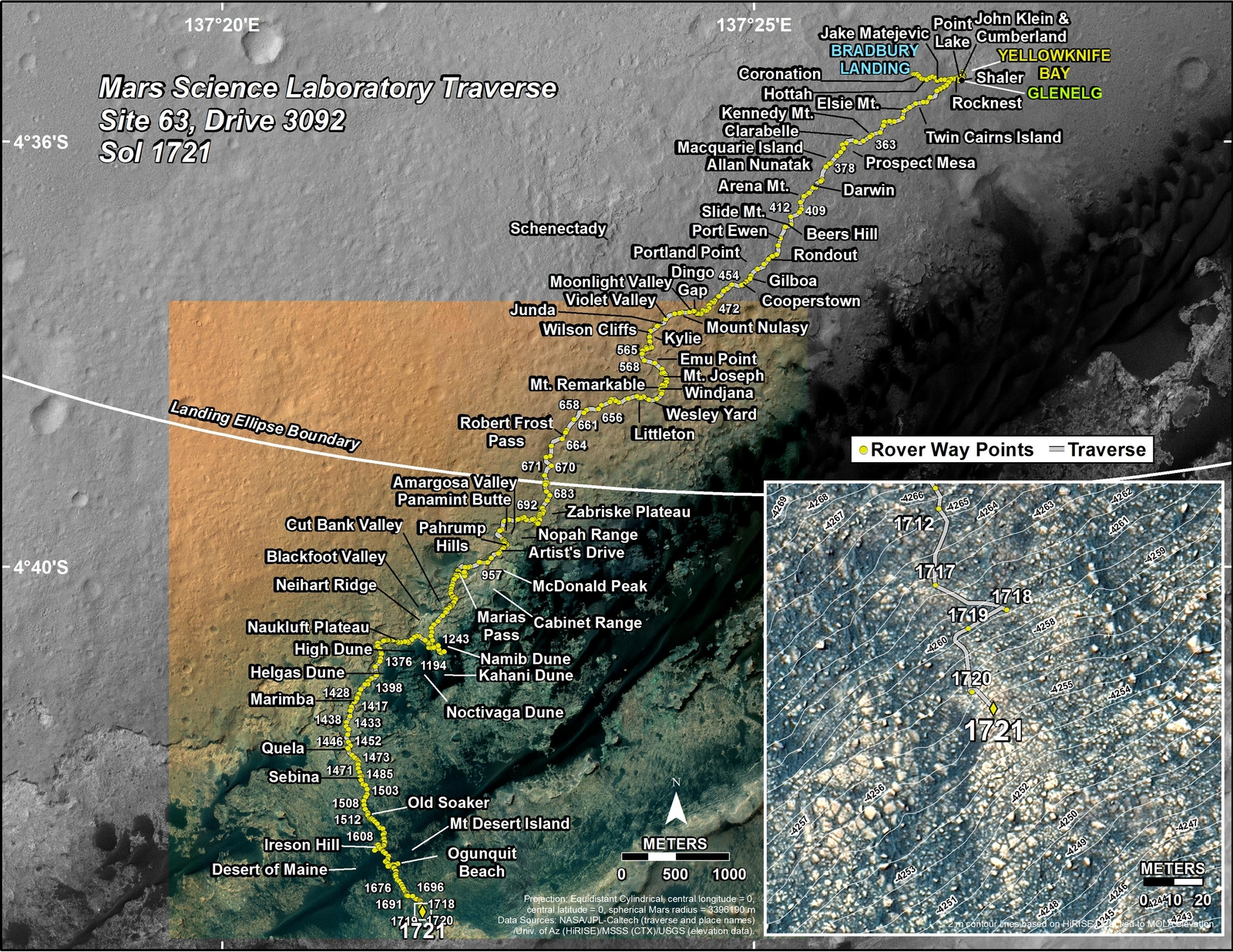 This map shows the route driven by NASA's Mars rover Curiosity through the 1721 Martian day, or sol, of the rover's mission on Mars (June 09, 2017).