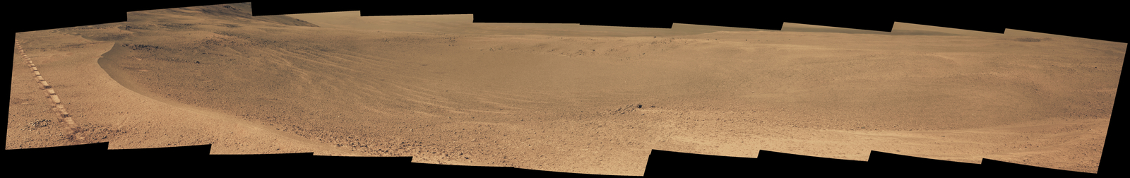 "NASA's Opportunity Mars rover passed near this small, relatively fresh crater in April 2017, during the 45th anniversary of the Apollo 16 mission to the moon. The rover team chose to call it ""Orion Crater,"" after the Apollo 16 lunar module. The rover's Panoramic Camera (Pancam) recorded this view."