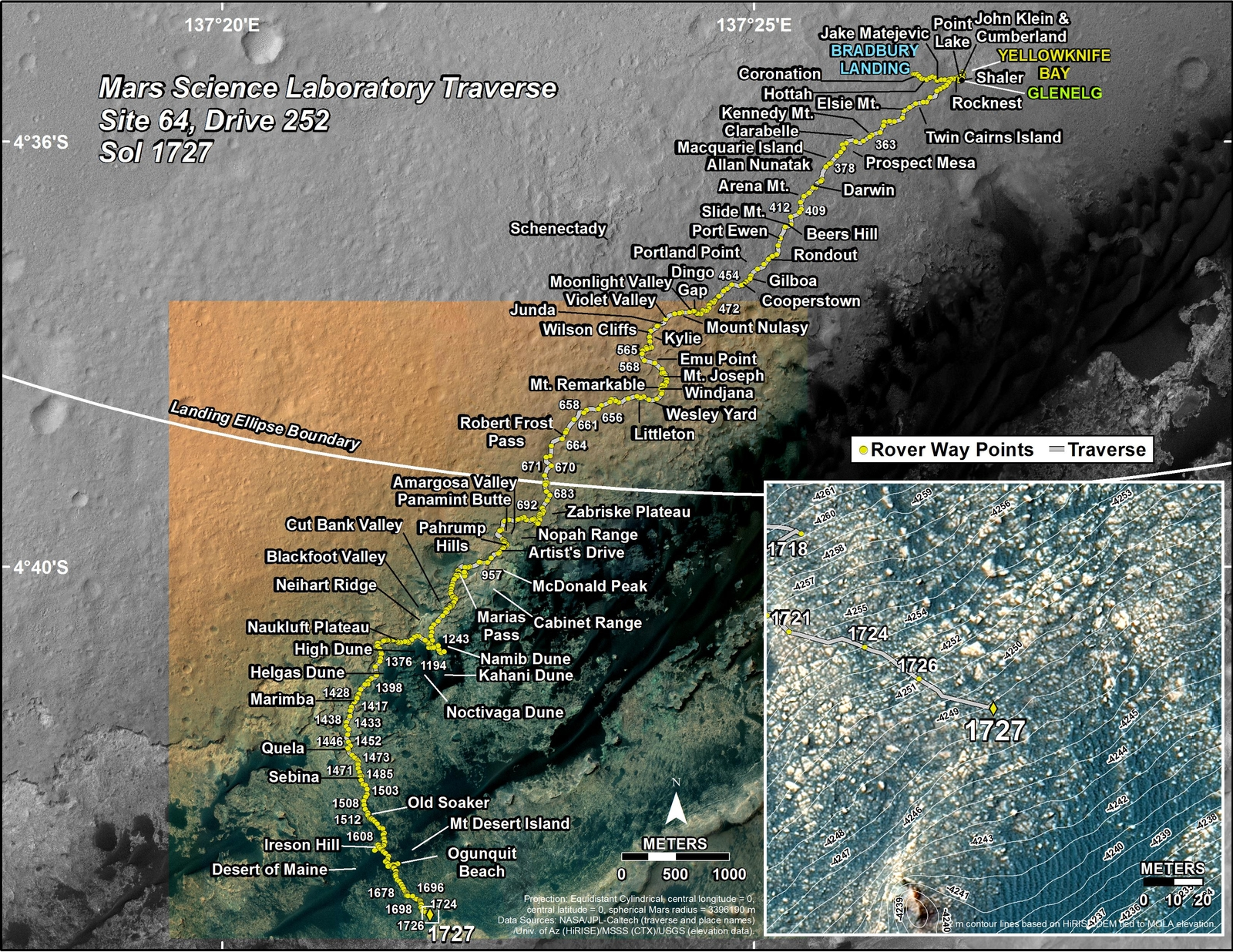 This map shows the route driven by NASA's Mars rover Curiosity through the 1727 Martian day, or sol, of the rover's mission on Mars (June 12, 2017).