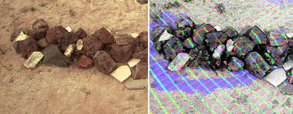 "The left view is a sample view of a pile of rocks taken in the ""Mars Yard"" testing area at JPL. The right picture illustrates one way the camera data can be used to reveal the contours of a target from a distance."