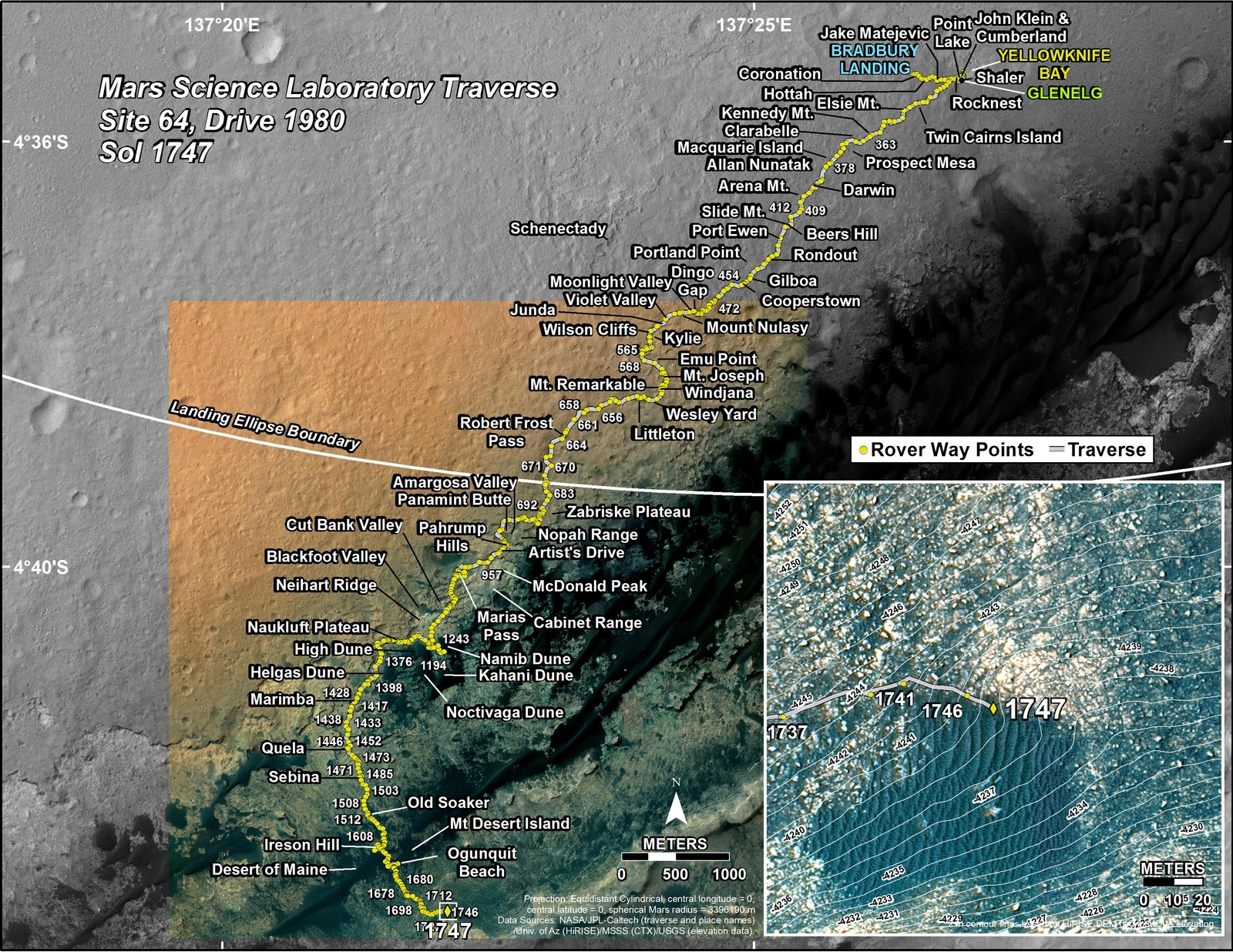This map shows the route driven by NASA's Mars rover Curiosity through the 1747 Martian day, or sol, of the rover's mission on Mars (July 06, 2017).