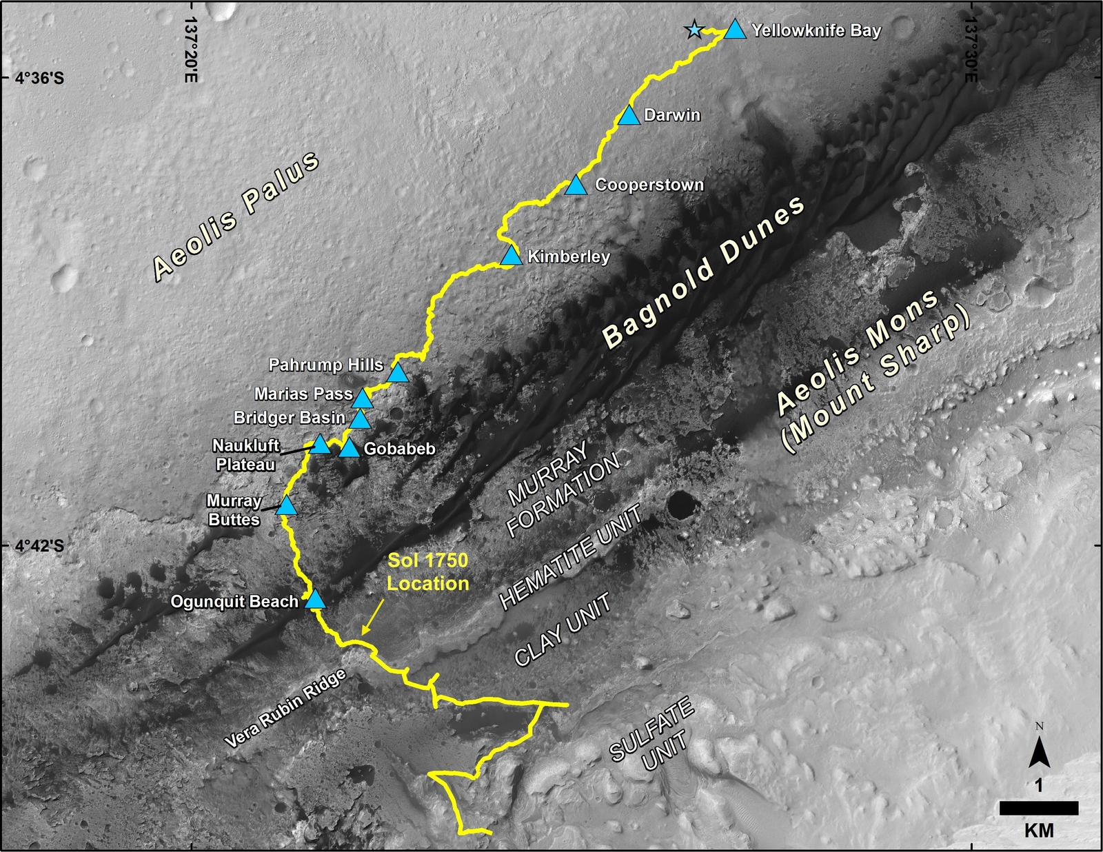 This map shows the route driven by NASA's Curiosity Mars rover, from the location where it landed in August 2012 to its location in July 2017 (Sol 1750), and its planned path to additional geological layers of lower Mount Sharp.