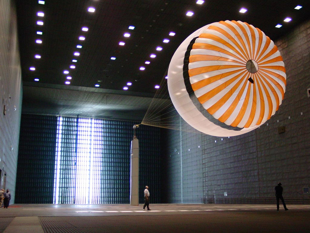 Mars Exploration Rover parachute deployment testing in the world's largest wind tunnel at NASA's Ames Research Center, Moffet Field, Calif.