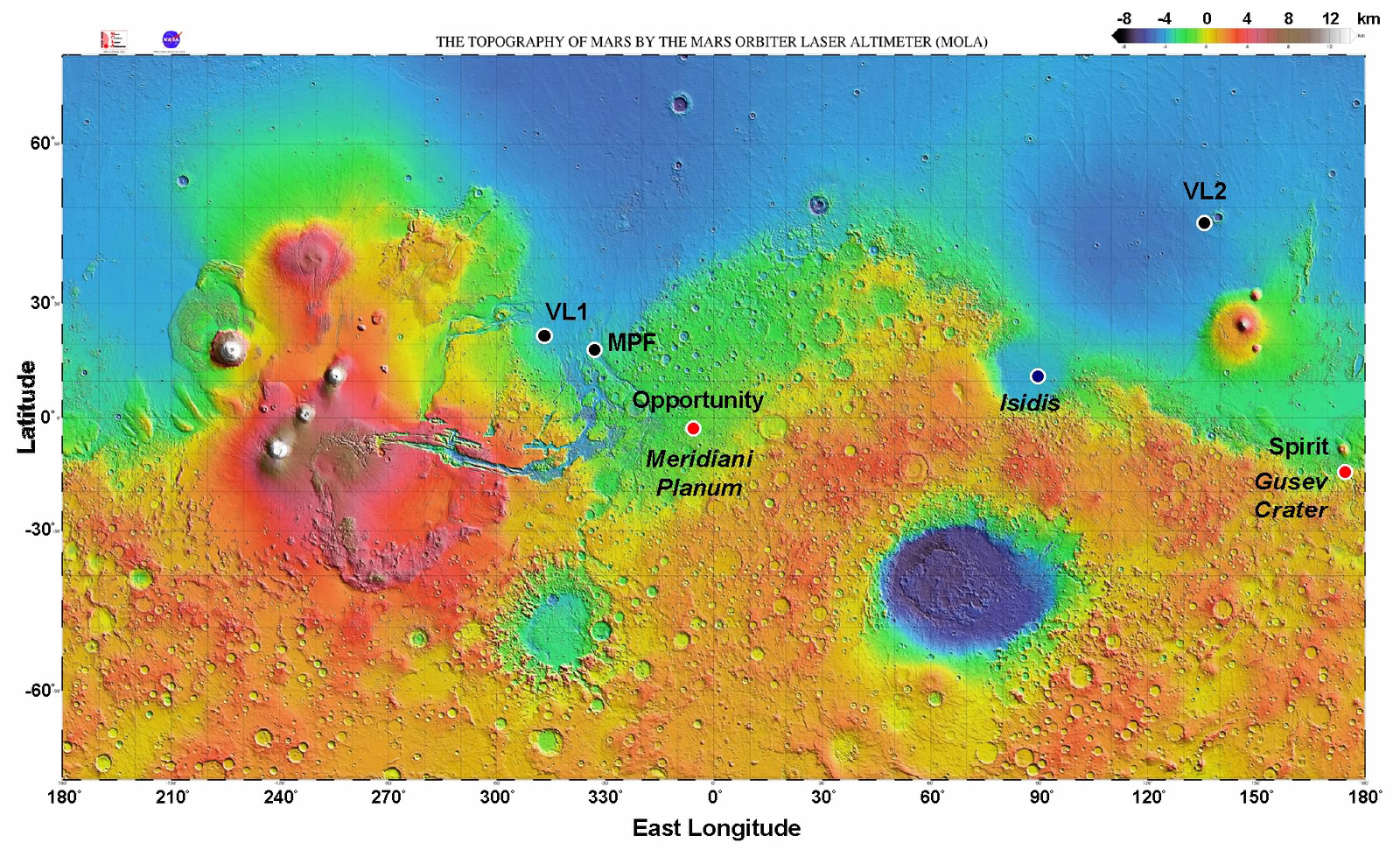 Locations of landers and rovers on Mars.