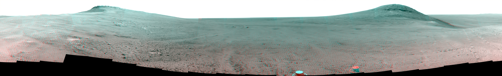 "This June 2017 stereo  view from NASA's Opportunity Mars rover shows the area just above  ""Perseverance Valley"" on the rim of a crater. It combines images from  the left eye and right eye of the rover's Pancam to appear three-dimensional  when seen through blue-red glasses with the red lens on the left."