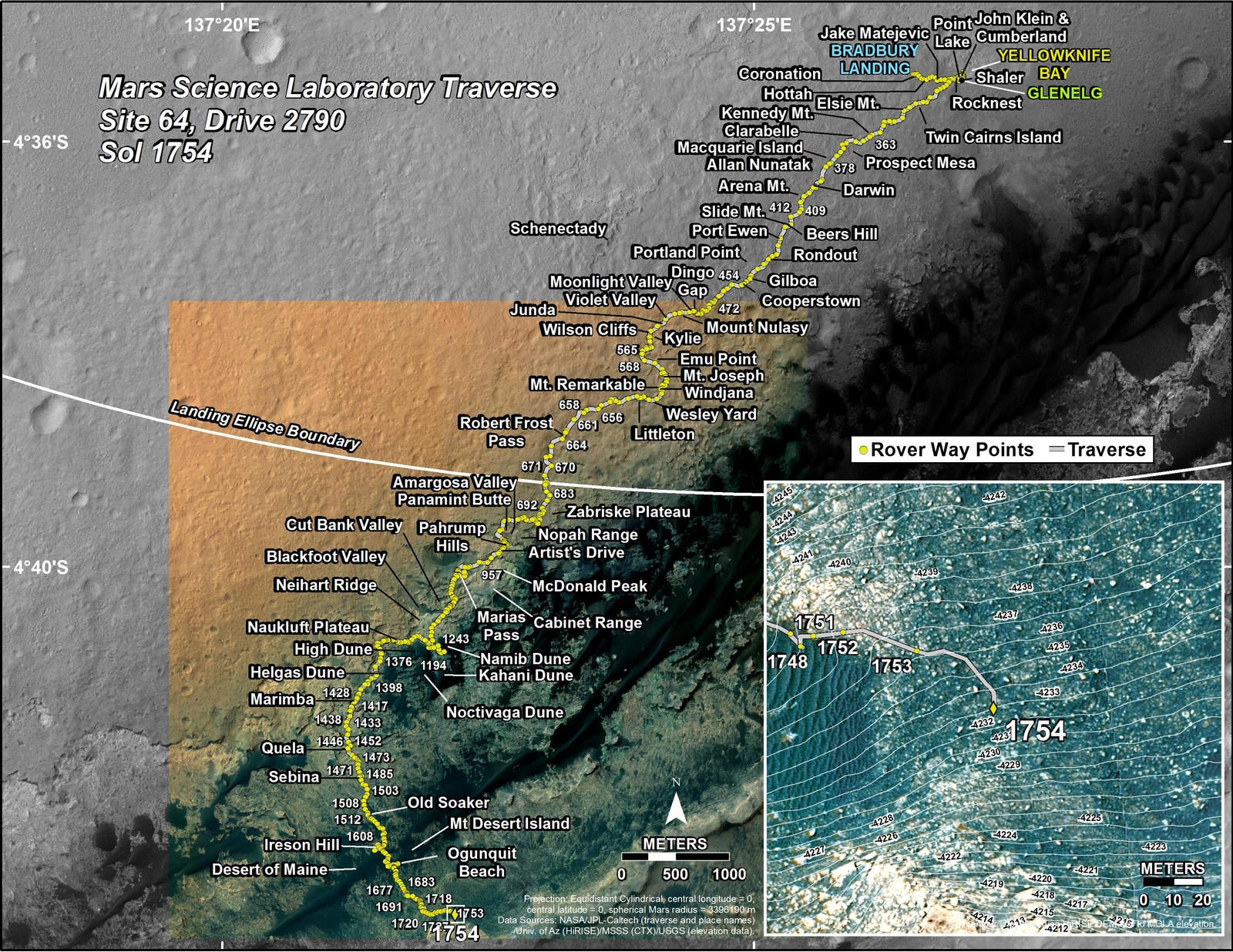 This map shows the route driven by NASA's Mars rover Curiosity through the 1754 Martian day, or sol, of the rover's mission on Mars (July 13, 2017).