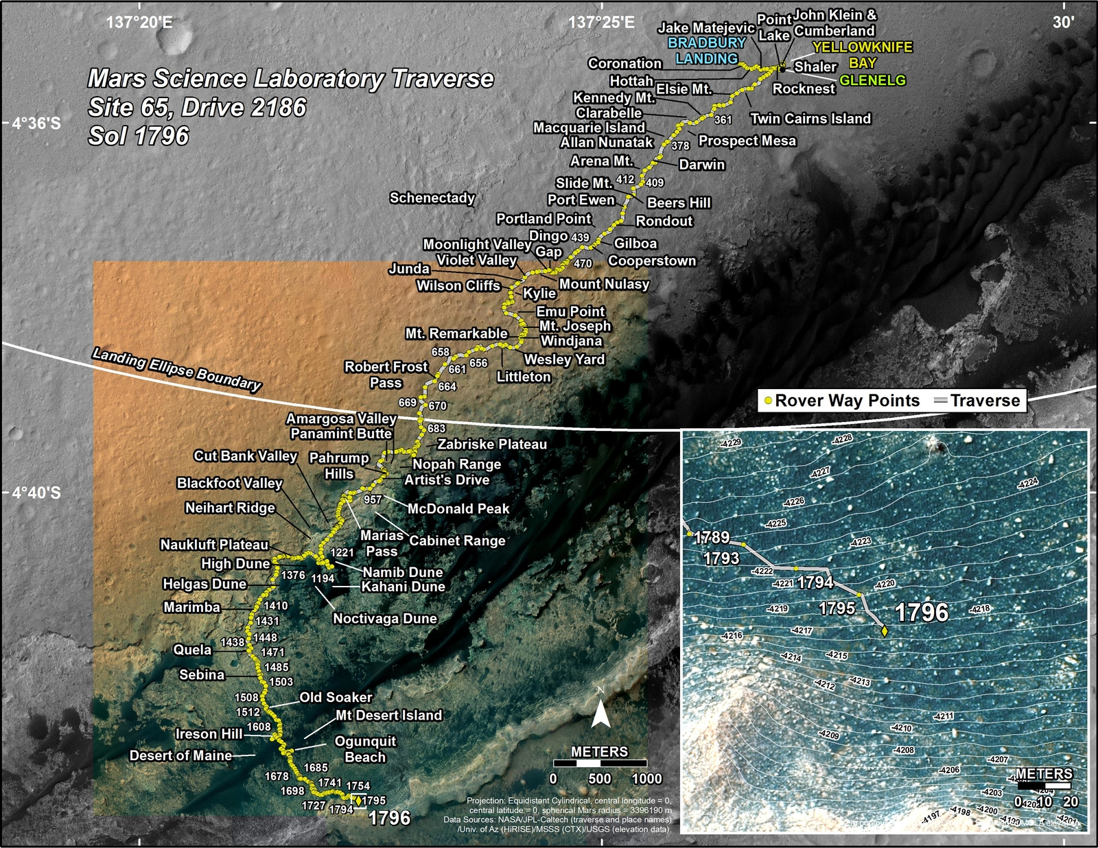 This map shows the route driven by NASA's Mars rover Curiosity through the 1796 Martian day, or sol, of the rover's mission on Mars (August 25, 2017).