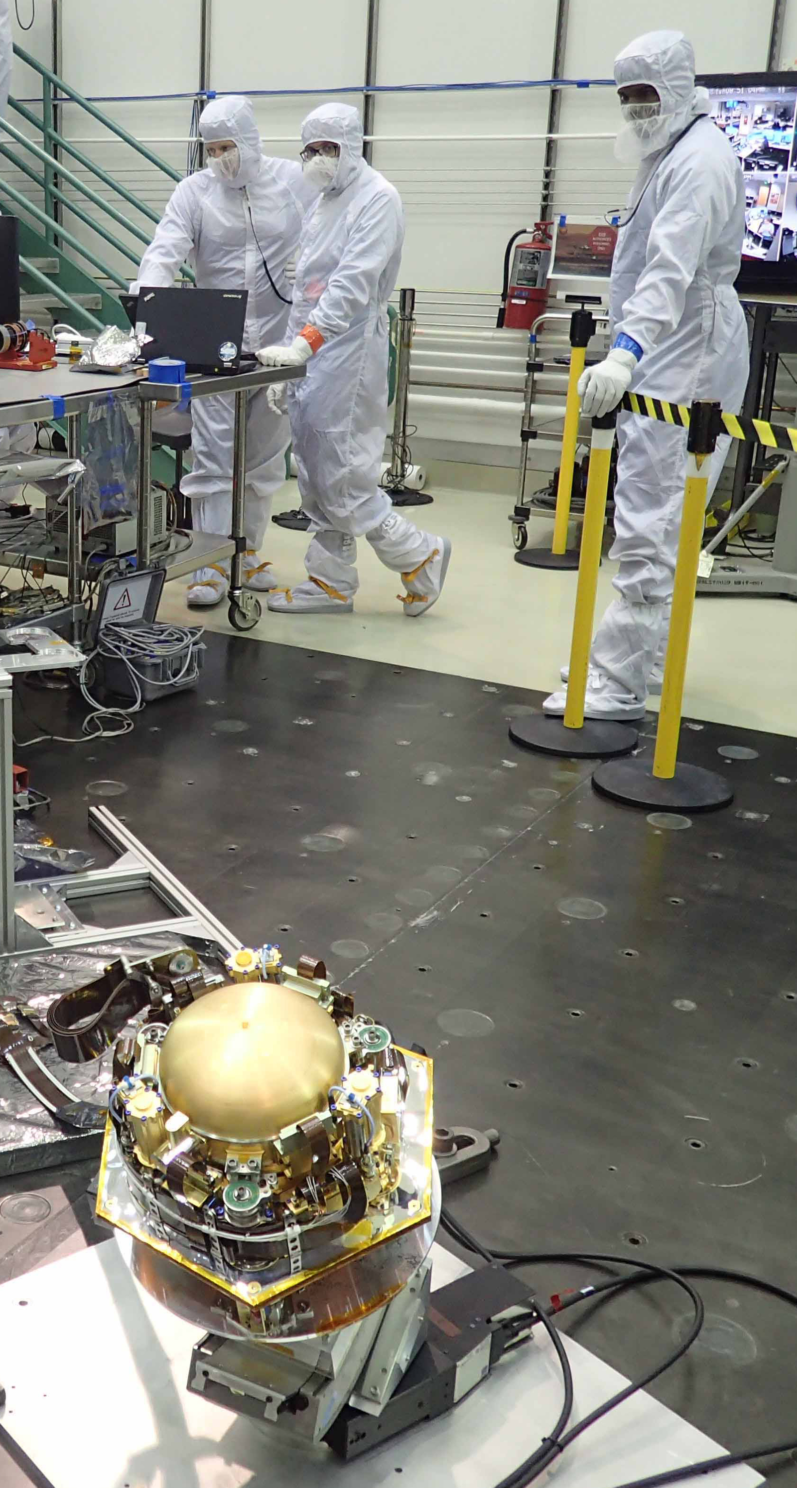 The Seismic Experiment for Interior Structure (SEIS) instrument for NASA's InSight mission to Mars undergoes a checkout in this photo taken July 20, 2017, in a Lockheed Martin clean room facility in Colorado. The SEIS was provided by France's national space agency (CNES).