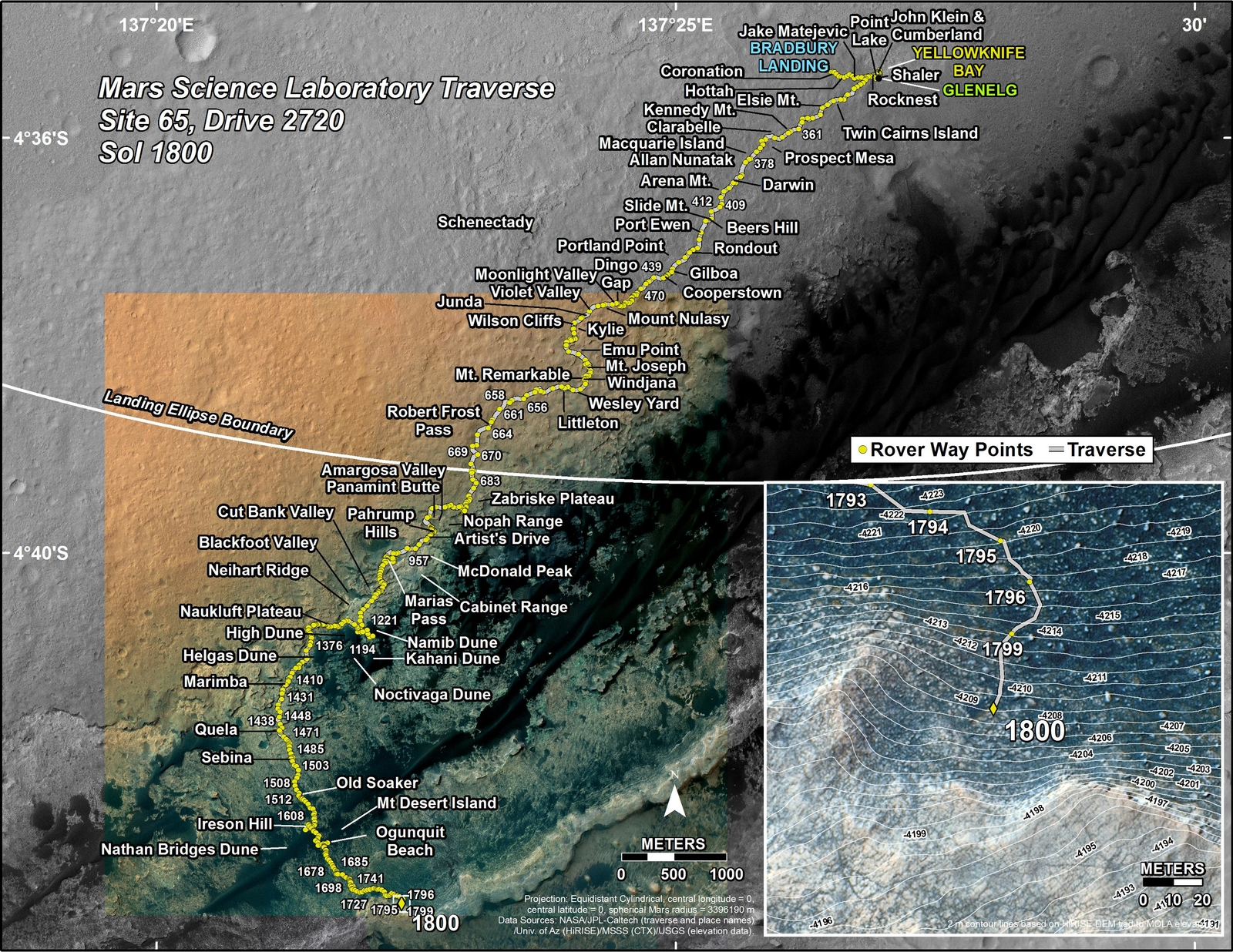 This map shows the route driven by NASA's Mars rover Curiosity through the 1800 Martian day, or sol, of the rover's mission on Mars (August 30, 2017).