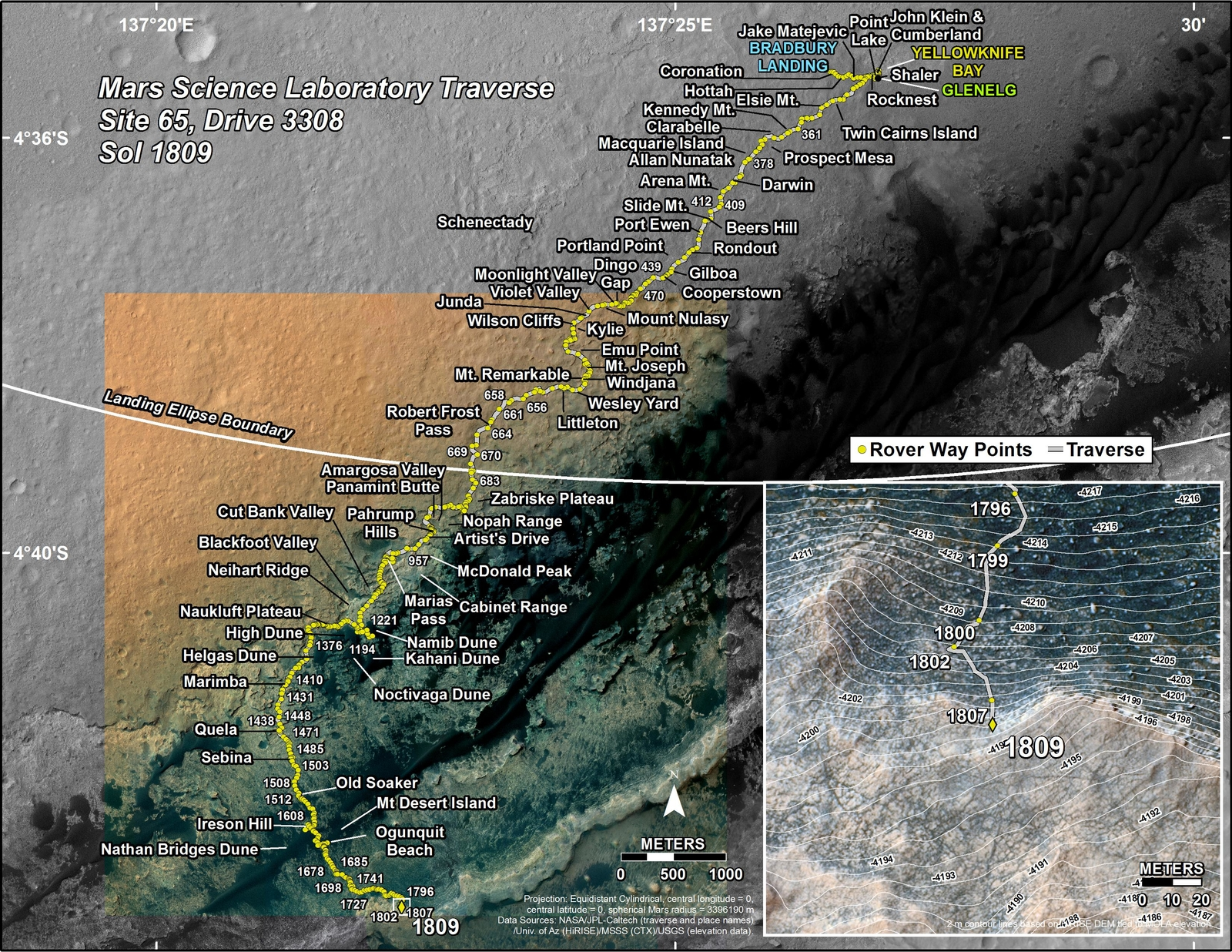 This map shows the route driven by NASA's Mars rover Curiosity through the 1809 Martian day, or sol, of the rover's mission on Mars (September 08, 2017).