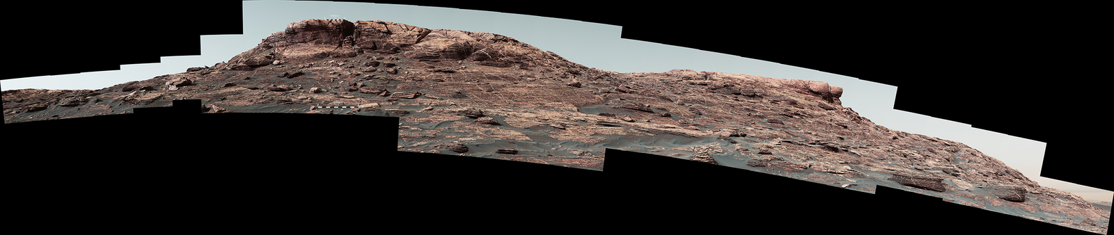 "Researchers used the Mastcam on NASA's Curiosity Mars rover to gain this detailed view of layers in ""Vera Rubin Ridge"" from just below the ridge. The scene combines 70 images taken with the Mastcam's right-eye, telephoto-lens camera, on Aug. 13, 2017."