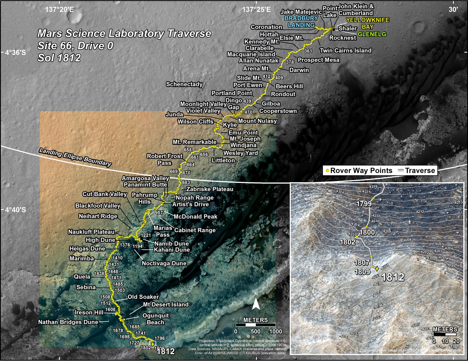 This map shows the route driven by NASA's Mars rover Curiosity through the 1812 Martian day, or sol, of the rover's mission on Mars (September 11, 2017).
