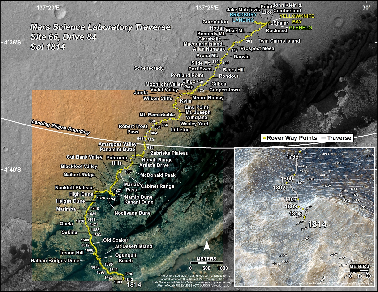 This map shows the route driven by NASA's Mars rover Curiosity through the 1814 Martian day, or sol, of the rover's mission on Mars (September 13, 2017).