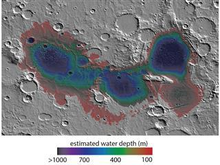 Estimated Water Depths in Ancient Martian Sea