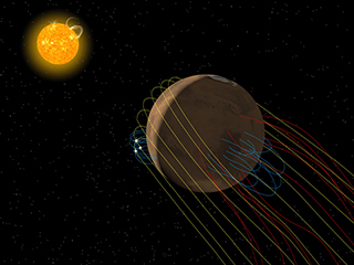 Artist's conception of magnetic field environment at Mars