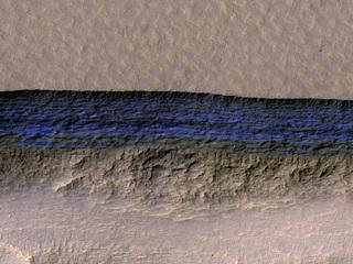 Underground Martian Ice Deposit Exposed at Scarp