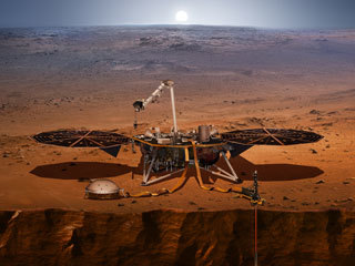 An artist's impression of the InSight lander on Mars.