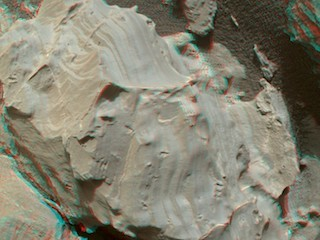 see the image 'Stereo View of Martian Rock Target 'Funzie''