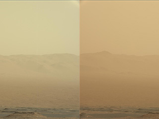 This set of images from NASA's Mars Reconnaissance Orbiter shows a fierce dust storm is kicking up on Mars, with rovers on the surface indicated as icons.
