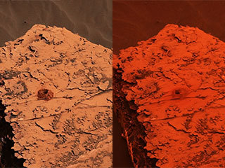 Two images from the Mast Camera on NASA's Curiosity rover show the change in the color of light illuminating the Martian surface since a dust storm engulfed Gale Crater.