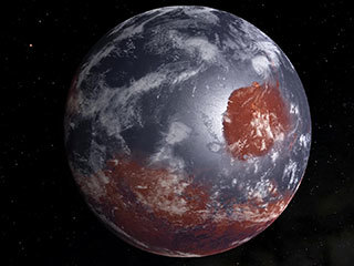 This is an artist's model of an early Mars — billions of years ago — which may have had oceans and a thicker atmosphere.