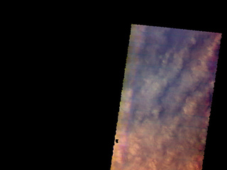 This image from NASA's Mars Odyssey shows the cloud tops of a large storm over Utopia Planitia. The clouds are composed mainly of dust and completely hide the surface.