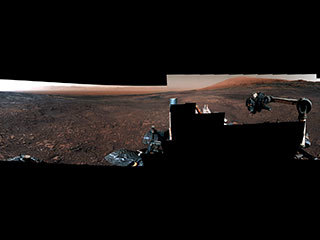 "The rover took a 360-degree panorama of the area depicting its last drill hole on the ridge (at a location called ""Rock Hall"")."