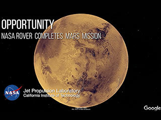 Drive along with NASA's Opportunity Mars rover and hear the voices of scientists and engineers behind the mission. Designed to run for 90 days, the exploration spanned more than 15 years from 2004 to 2019. Along the way, it discovered definitive proof of liquid water on ancient Mars and set the off-world driving record.