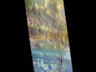 This image from NASAs Mars Odyssey shows Mawrth Vallis cutting across the center.