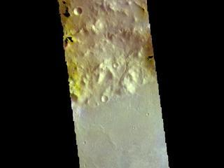 This image from NASAs Mars Odyssey shows part of the floor of Marth Crater. Dark blue tones typically indicate basaltic sands.