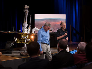 Steve Squyres, principal investigator for NASA's Mars Exploration Rover mission, and Matt Golombek, the mission's project scientist, discussed the ground-breaking science returned by the mission's twin rovers, Spirit and Opportunity, on Feb. 13, 2019.