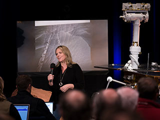 At an event celebrating the end of NASA's Mars Exploration Rovers (MER) mission on Feb. 13, 2019, engineer Jennifer Trosper shared how working on the rovers Spirit and Opportunity taught her lessons for NASA's next rover mission, Mars 2020.