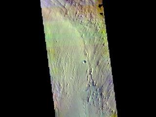 This image from NASAs Mars Odyssey shows part of Firsoff Crater, located north of Meridiani Planum.