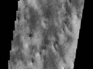 This image from NASAs Mars Odyssey shows an area near Hooke Crater on the margin of Argyre Planitia.