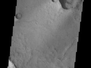 This image from NASAs Mars Odyssey shows two craters located on the margin of Syrtis Major Planum.