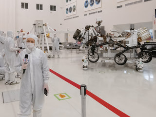 During their only opportunity to see NASA's next Mars rover from inside JPL's clean room prior to its shipment to Cape Canaveral, members of the media interview the builders of the Mars 2020 mission.