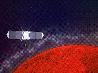 Graphic illustrating the MAVEN spacecraft encountering plasma layers at Mars.