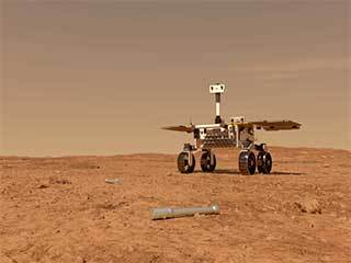 Fetch Rover Approaching Sample Tubes (Artist's Concept)