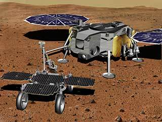 Robotic Arm Transferring Tubes From Fetch Rover to Lander (Artist's Concept)
