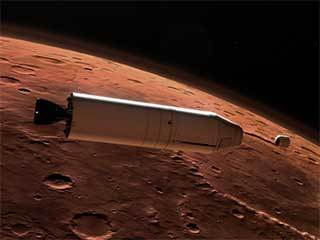 Mars Ascent Vehicle Deploying Sample Container in Orbit (Artist's Concept)