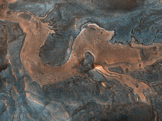 Part of the canyon floor and wall rock in southwestern Melas Chasma on Mars meanders in a pattern resembling a dragon.