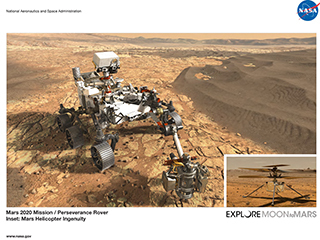 Mars 2020 Rover and Helicopter Lithograph