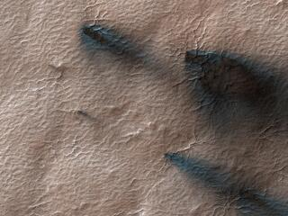 This image acquired on April 27, 2020 by NASAs Mars Reconnaissance Orbiter, shows fans of dust blown out from under the seasonal layer of carbon dioxide ice that forms a polar cap over the winter.