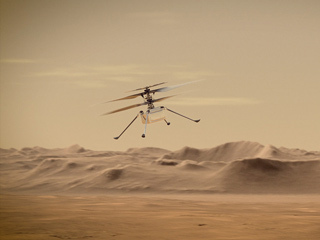 Ingenuity Mars Helicopter in Flight (Artist's Concept)