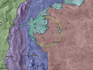 This map shows regions in and around Mars Jezero Crater, the landing site of NASAs Perseverance rover. The green circle represents the rovers landing ellipse, or the area where it will be landing within the crater.