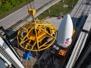 Mars 2020 Payload Fairing Arrives at KSC's Vertical Integration Facility
