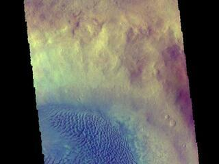 This image from NASAs Mars Odyssey shows a large dune field on the floor of an unnamed crater in Noachis Terra.