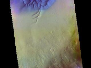 This image from NASAs Mars Odyssey shows a large dune covered sand sheet on the floor of this unnamed crater in Noachis Terra.