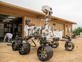 Perseverance Twin Drives Into the Mars Yard