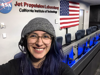 Christina Hernandez inside the mission control area at JPL.